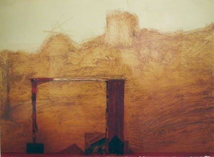Nathan Oliveira S Monotype With Mixed Media Douro Valley 1