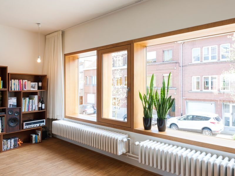 Renovatie • modern • trendy • houten raamkader • parket • Kessel-Lo • Architect: Katrien Delespaul