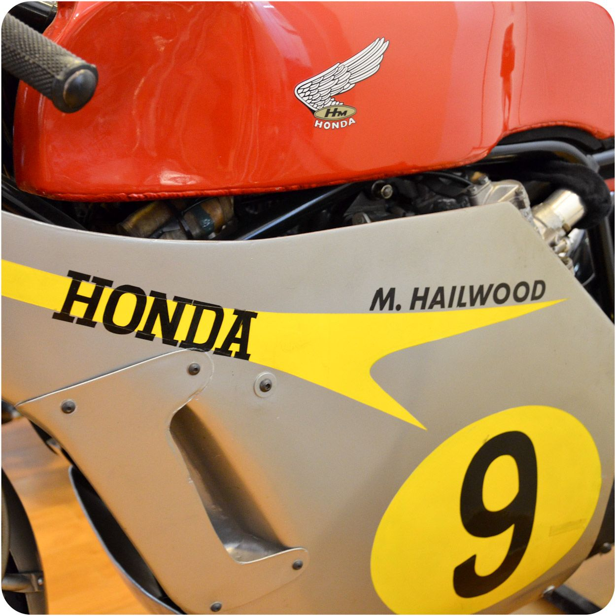 1966 Honda RC181 500cc works racer ridden by Mike Hailwood seen at Solvang Vintage Motorcycle Museum