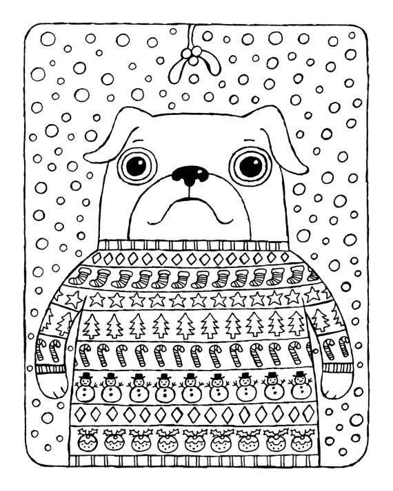 Christmas Coloring Page Pug In Jumper With Mistletoe And Snow Instant Download Printable
