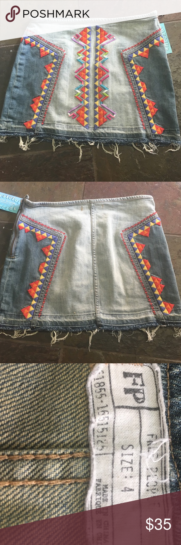 Free people denim skirt with embroidery !! Free people amazing demin skirt ! Size 4 with some stretch! 141/2 inch length !!!! Side zipper Free People Skirts Mini