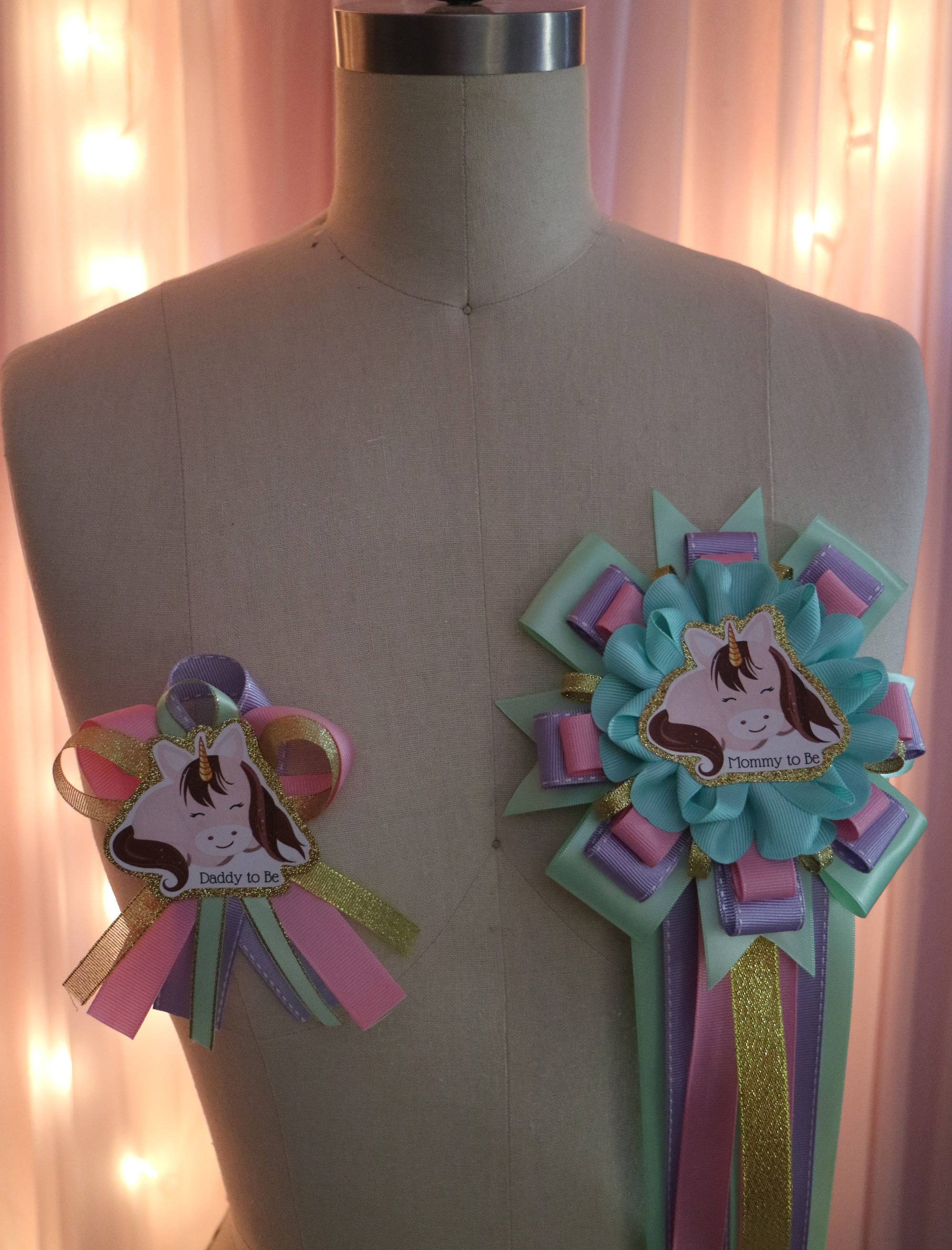 Baby Unicorn Baby Shower Corsage Set by yeseniacouture on Etsy