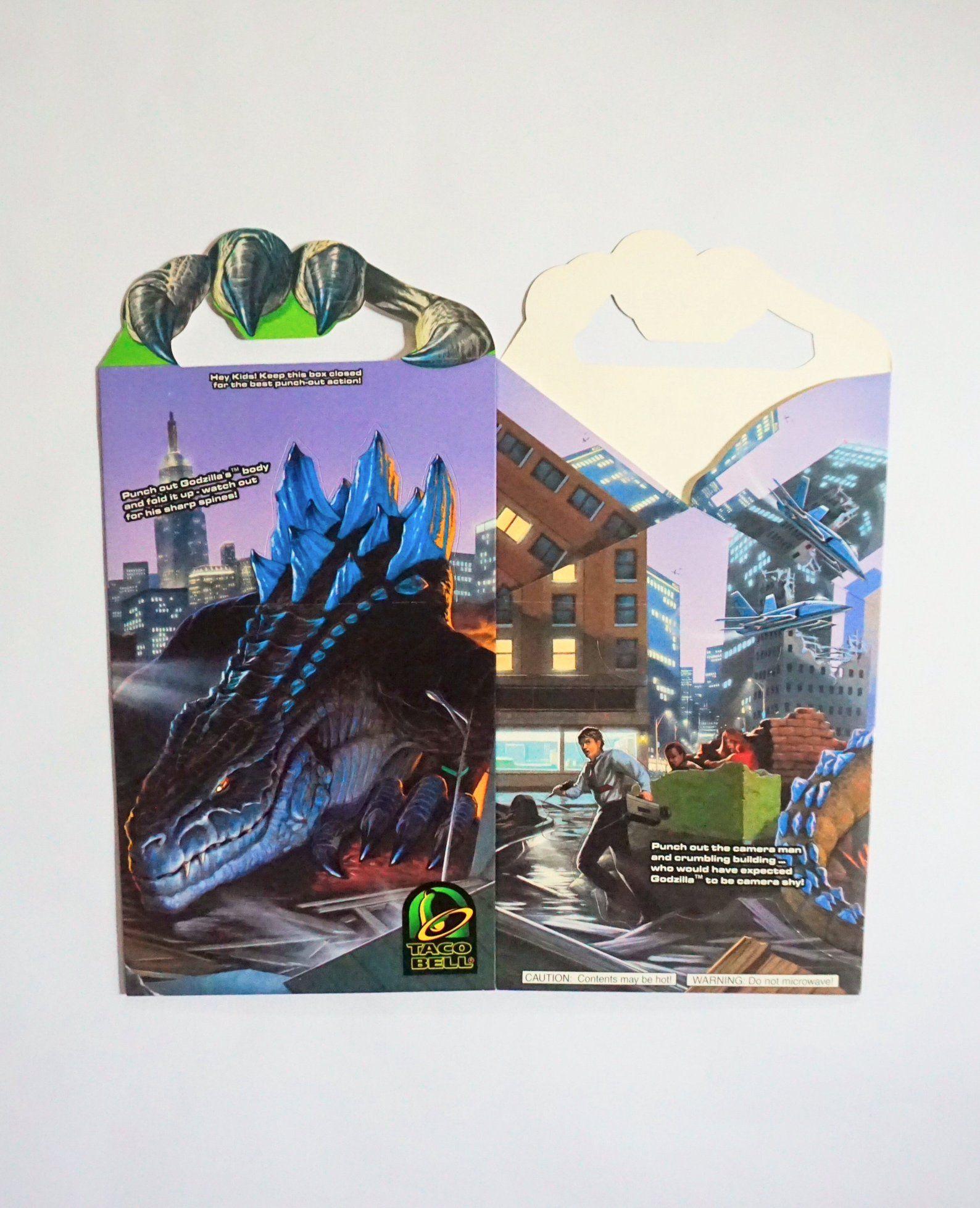 1998 Godzilla Promotional Taco Bell Kids Meal Box Vintage