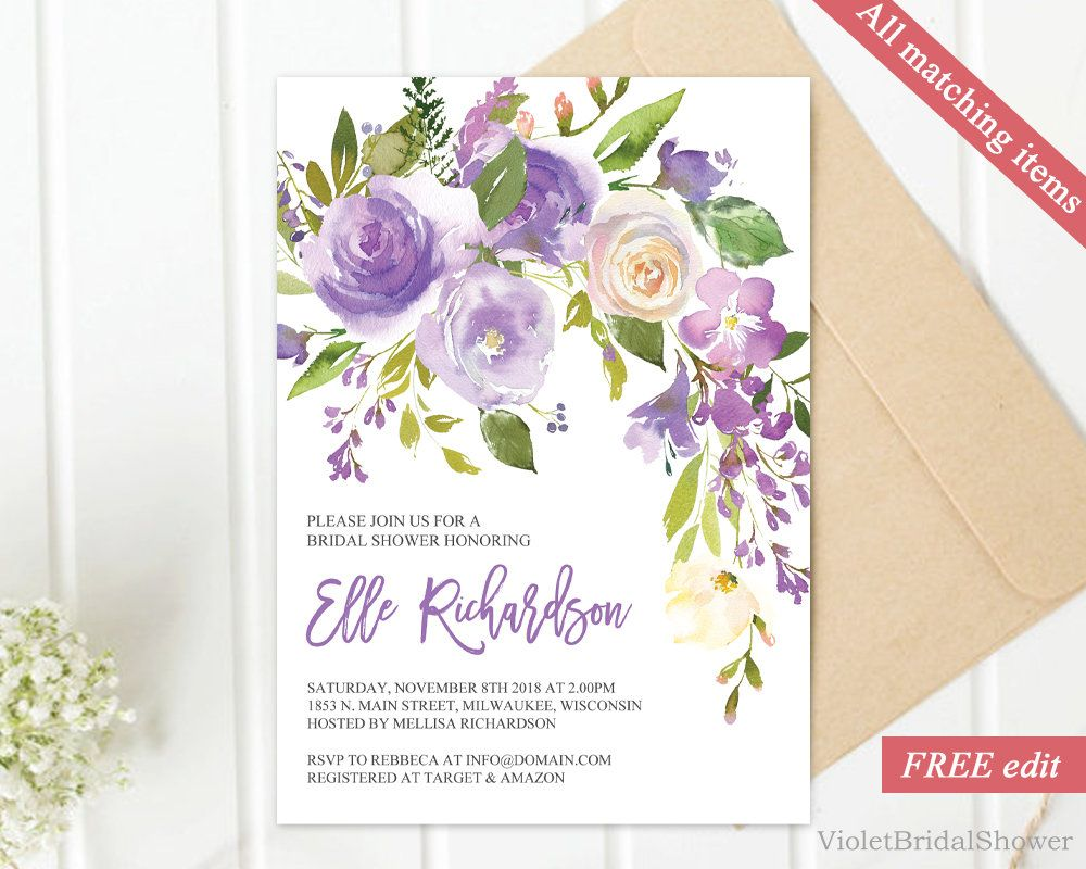 Purple Floral Bridal Shower Invitation Template Printable Bridal