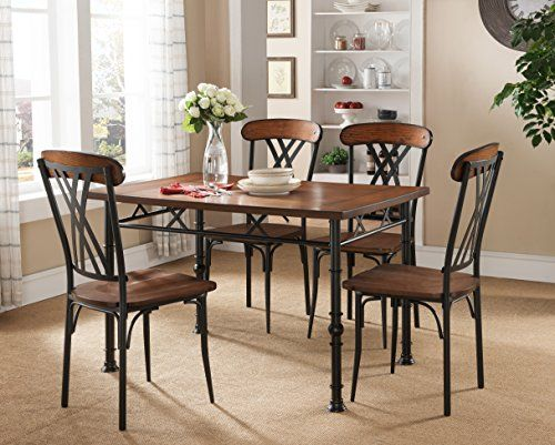 Kings Brand Furniture Ash Finish Wood with Metal Dining Dinette