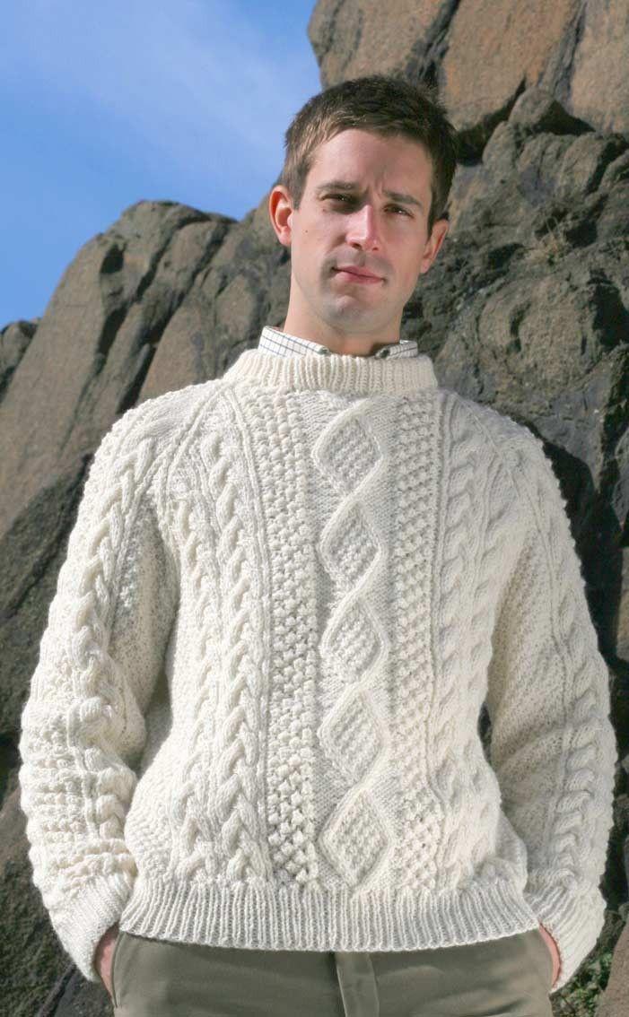 053392b924477f CLAN - Mens Hand-Knitted Luxury Aran Sweater - Moorfoot