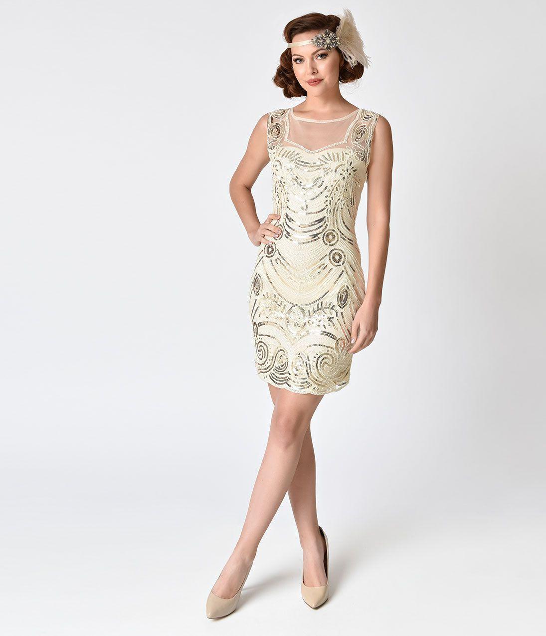 1920s Rose Gold Sequin Beaded Deco Flapper Short Mermaid Dress ...