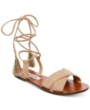ed26b0369df Steve Madden Women's Dylan Lace-Up Flat Sandals - Tan/Beige 6.5M ...