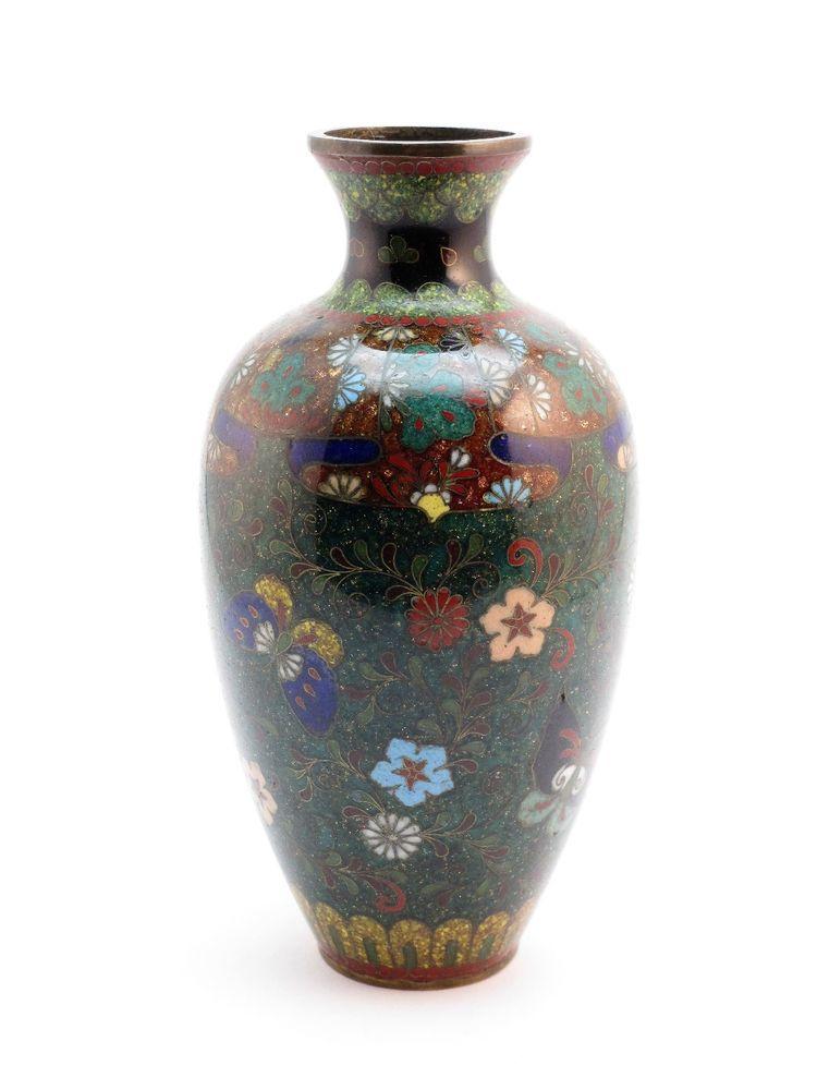 Antique 19thc Meiji 1868 1912 Japanese Cloisonne Vase Flowers