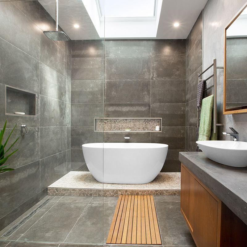 Hayley And Jim Produced A Beautiful Bathroom That Impressed The Judges In Week 3 Of Reno Rumble The Small Spa Bathroom Spa Bathroom Design Spa Bathroom Decor