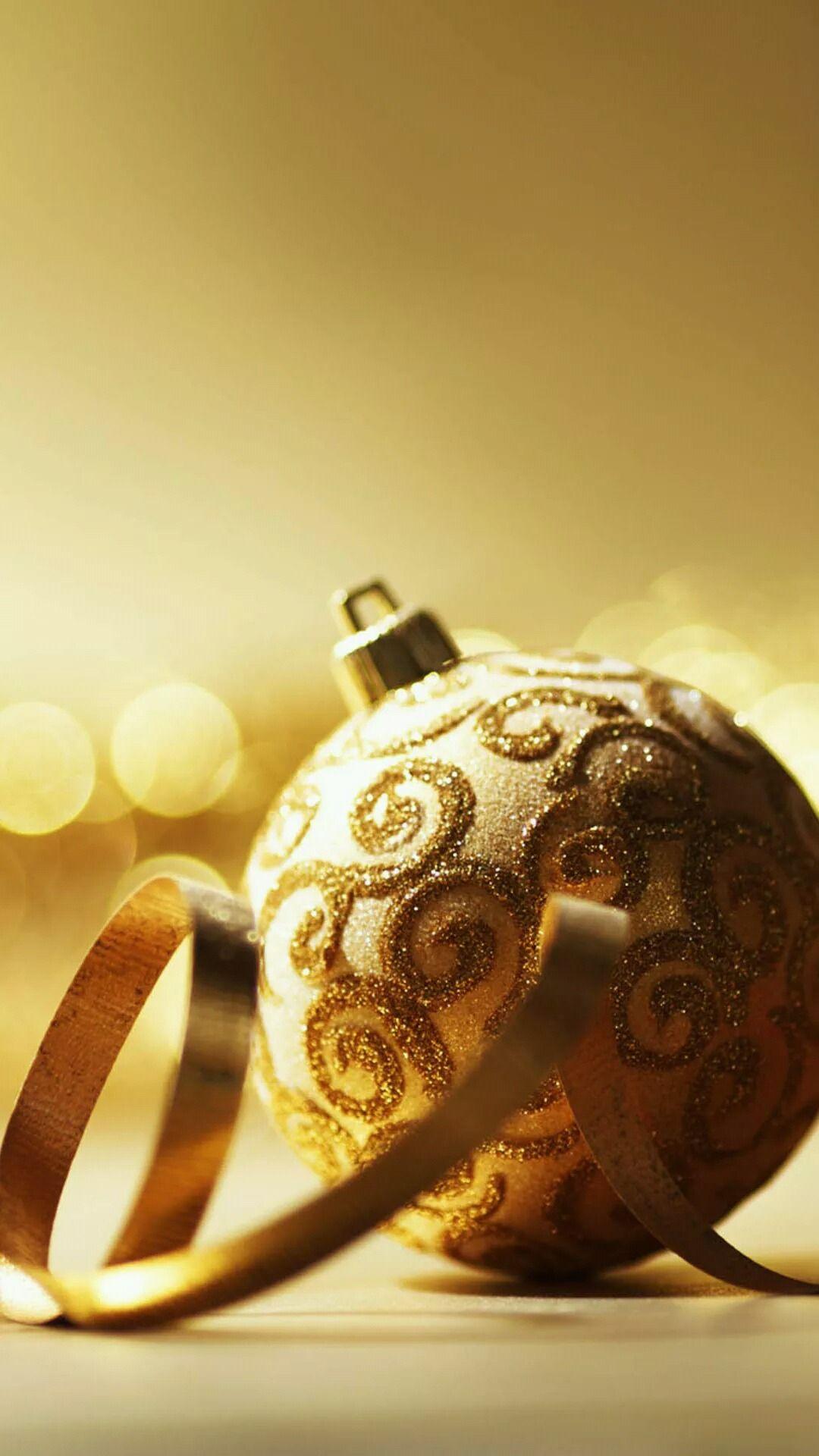 Golden Elegant Christmas Ornaments Iphone Wallpapers Merry