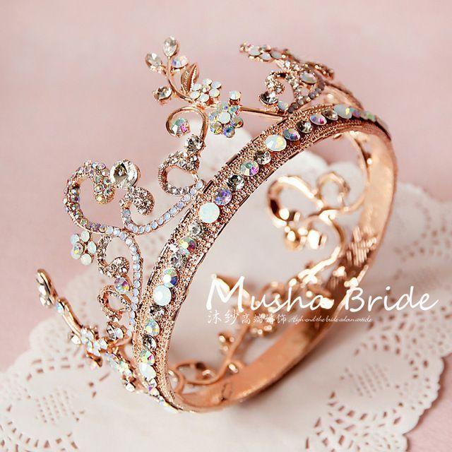 Gold Farbe Edelsteine Schmuck Braut Haar Tiara Mode Runde elegante …   – Accesorios que me gustan