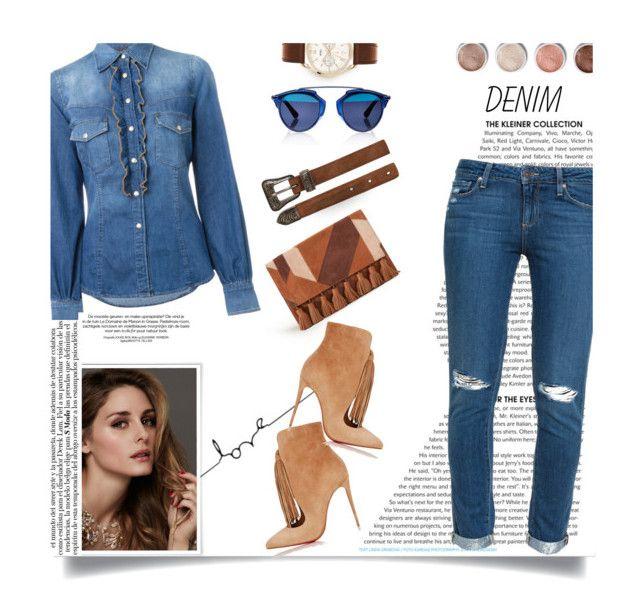"""Double Down on Denim..."" by unamiradaatuarmario ❤ liked on Polyvore featuring Christian Dior, Just Cavalli, Rebecca Minkoff, Christian Louboutin, Paige Denim, Yves Saint Laurent, Henry London, Beauty Secrets, Terre Mère and Denimondenim"
