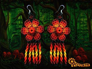 Flower Dream - Eardrops    Seller: imzauberwald  Shop Category: Huichol Jewelry