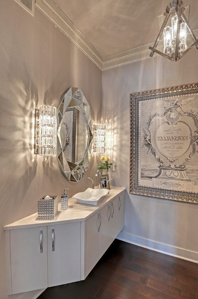 Swarovski Crystal Ideas Powder Room Transitional With Silver Wooden Tissue Box Holders