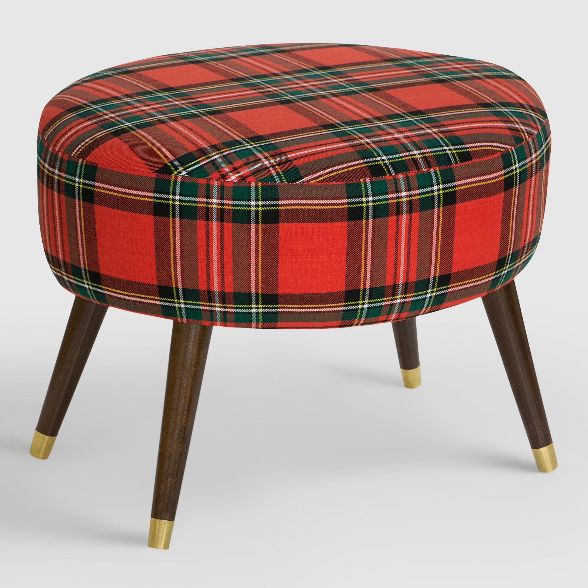 Ottoman Upholstery Oval Ancient Stewart Plaid Upholstered Ottoman Fabric By World
