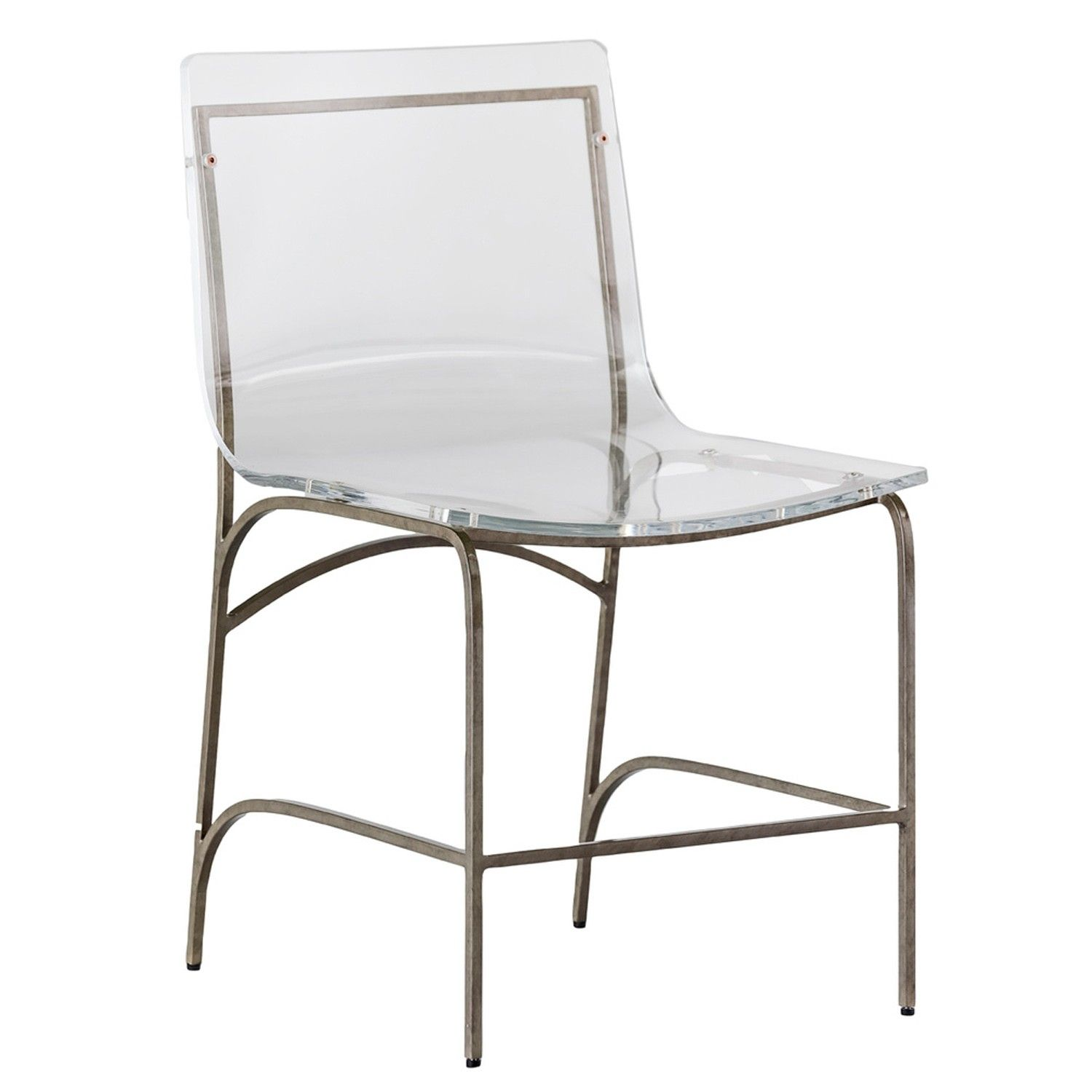 The penelope clear lucite and silver metal dining chair is a clear acrylic dining chair with an antique silver metal base that has a subtle curve to the