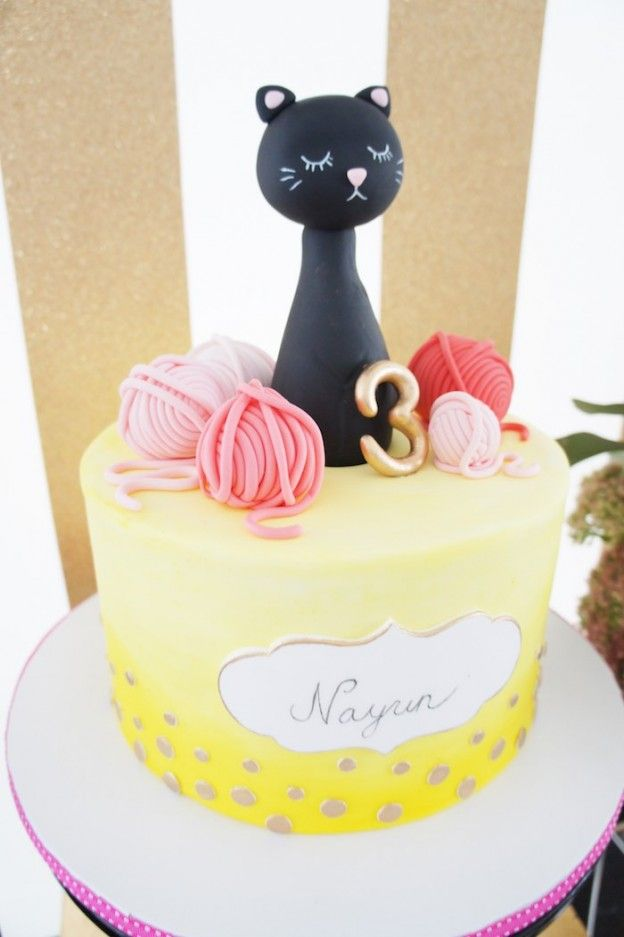 cake from a kitty cat birthday party via kara s party ideas karaspartyideas com