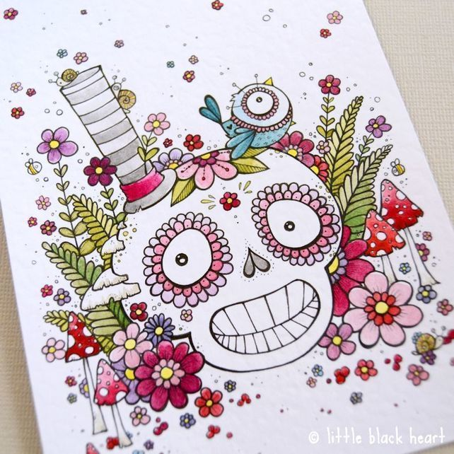 Original skull and flower illustration my Little Black Heart. Chirpy and cheerful woodland skull (complete with tophat, of course) and chums!
