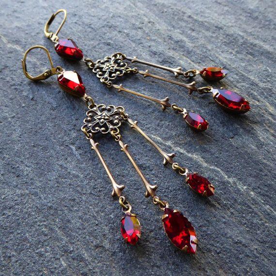 Swarovski crystal chandelier earrings ruby red crystal antique swarovski crystal chandelier earrings ruby red crystal antique brass romantic victorian bordeaux garnet aloadofball Choice Image