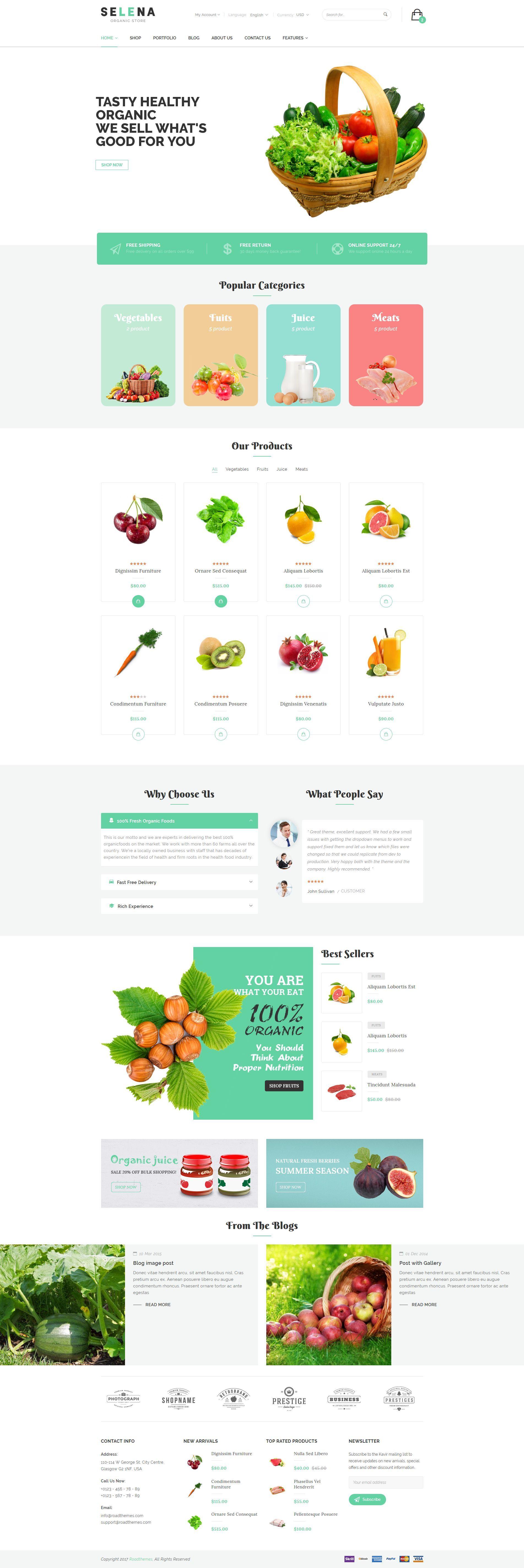Selena Organic Food Store Theme for Woo merce WordPress