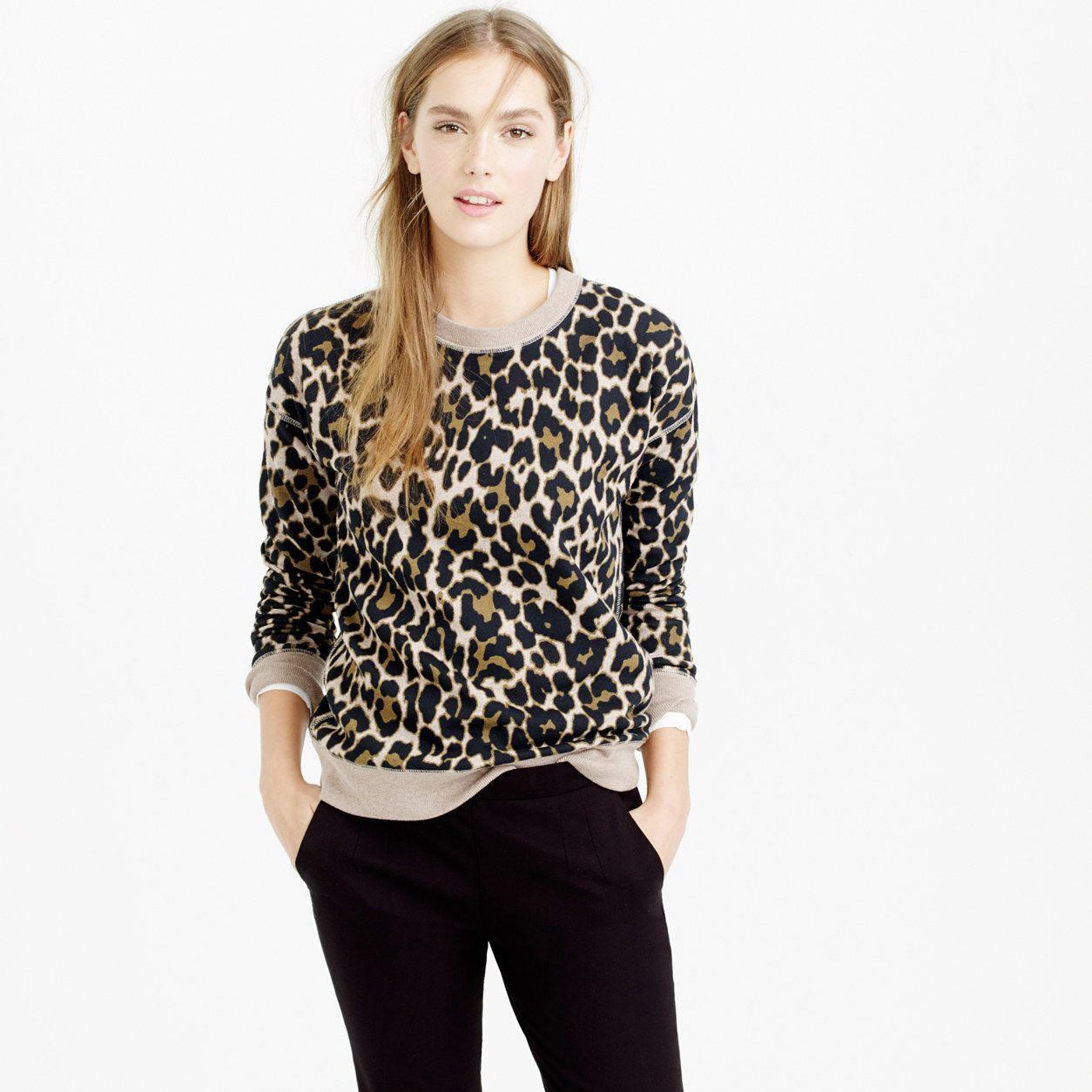 Crewneck Sweatshirt In Leopard Print Sweatshirts Women Leopard Print Sweatshirt Leopard Sweatshirt [ 1254 x 1254 Pixel ]