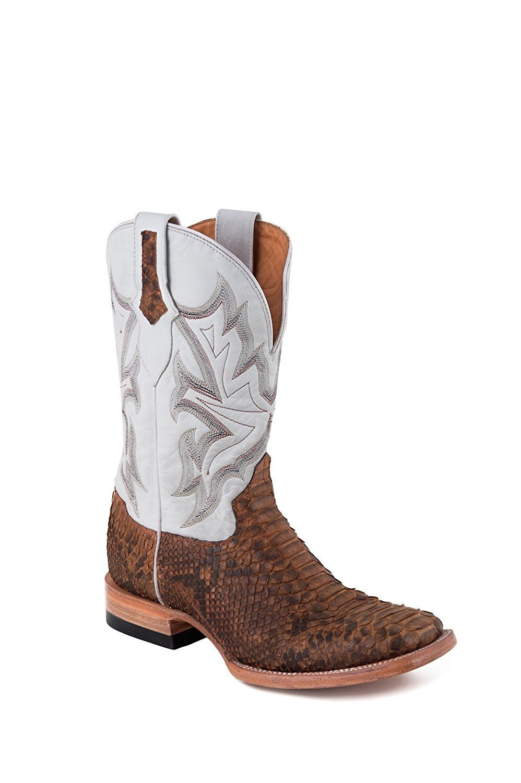 d887ecc8786 Stetson Men's Oiled Python Shaft Square Toe Multi-Color Snake Cowboy ...