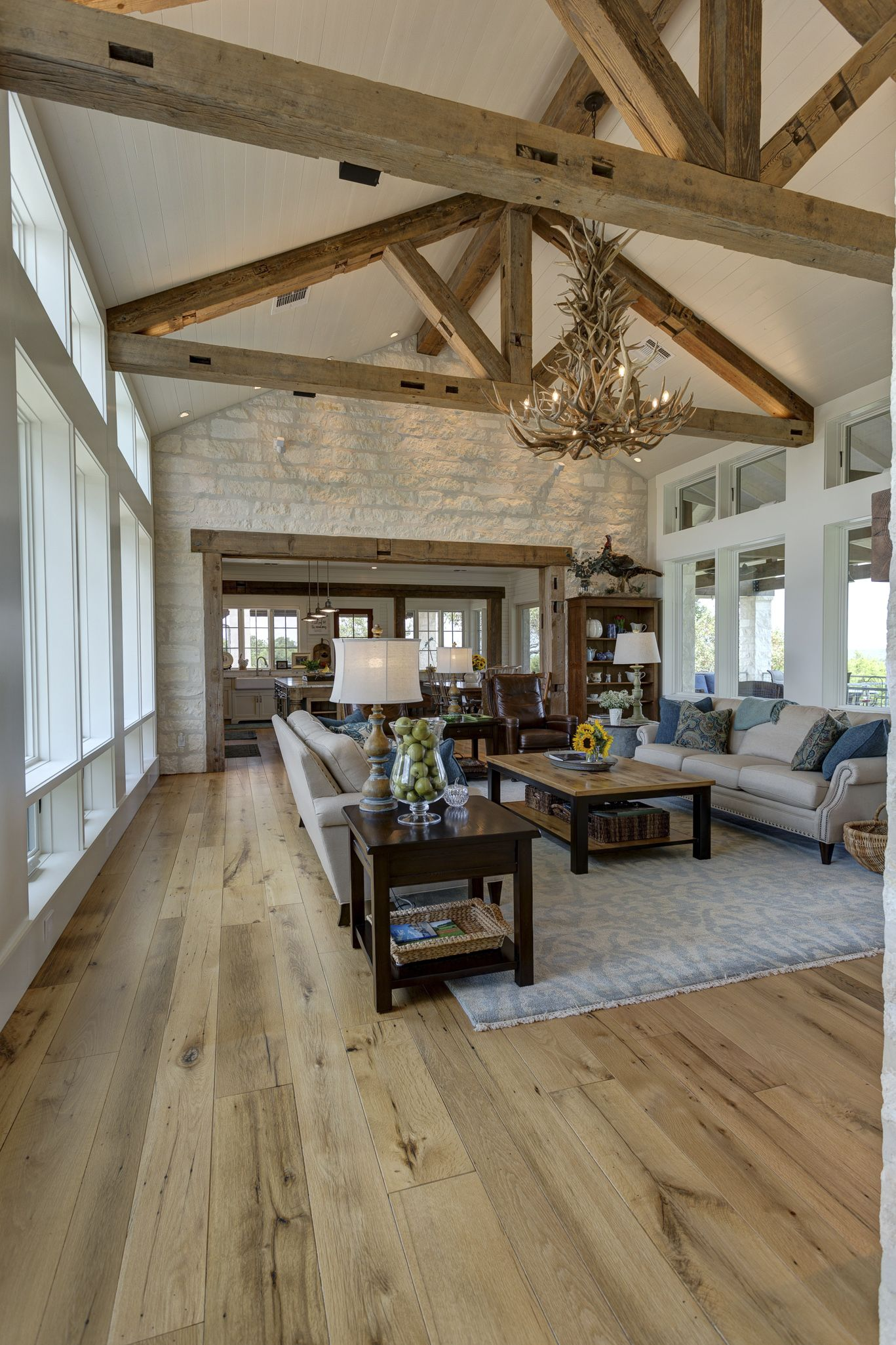 Family room. A mix of old and new. Texas Farmhouse style