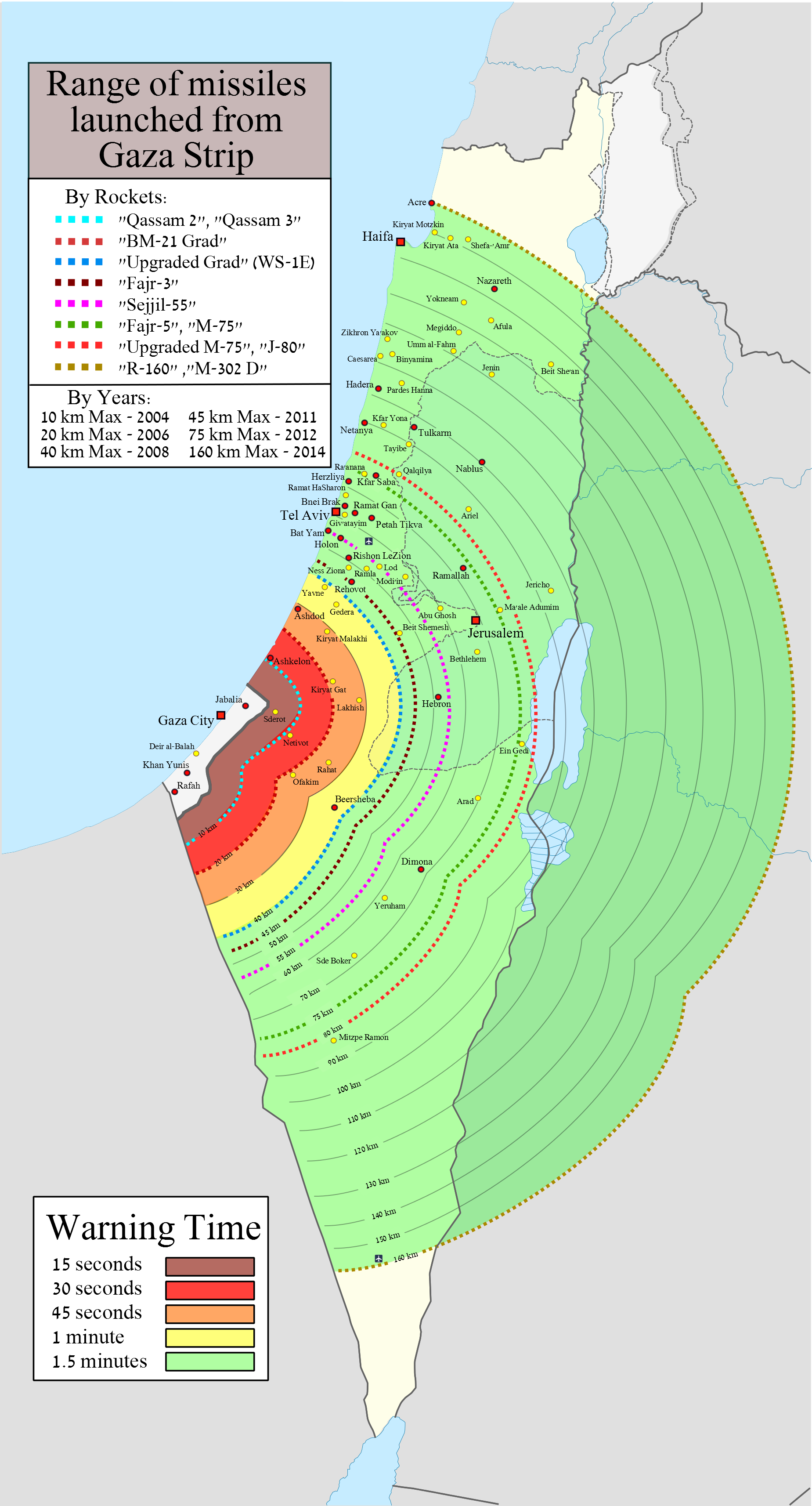 Range of missiles launched from Gaza Strip MAPS Pinterest