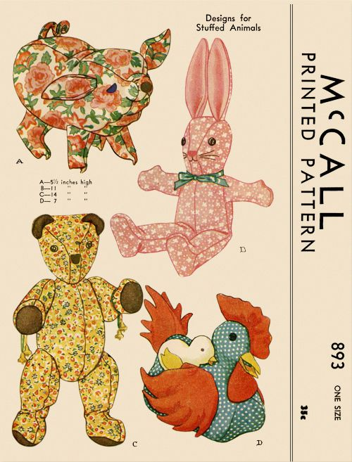 Vintage 1941 Stuffed Animals Toys McCall Sewing Pattern 893 Pig Hen ...