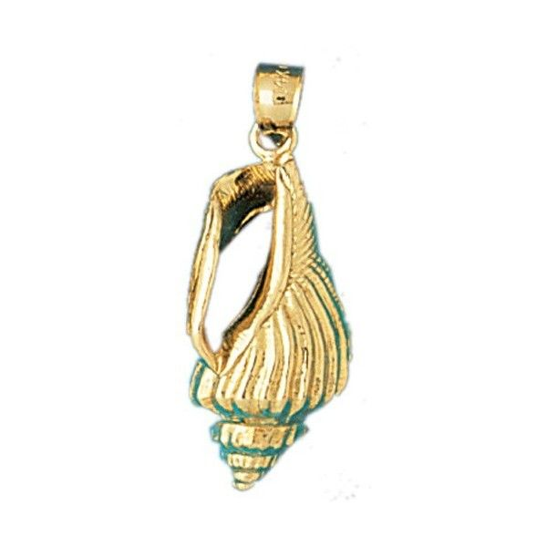 14K GOLD NAUTICAL CHARM SHELL 305 liked on Polyvore featuring