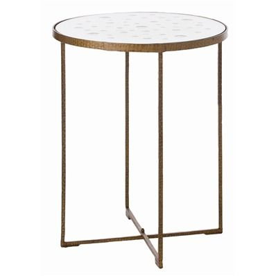 Unique Round Mirrored Side Accent End Tables