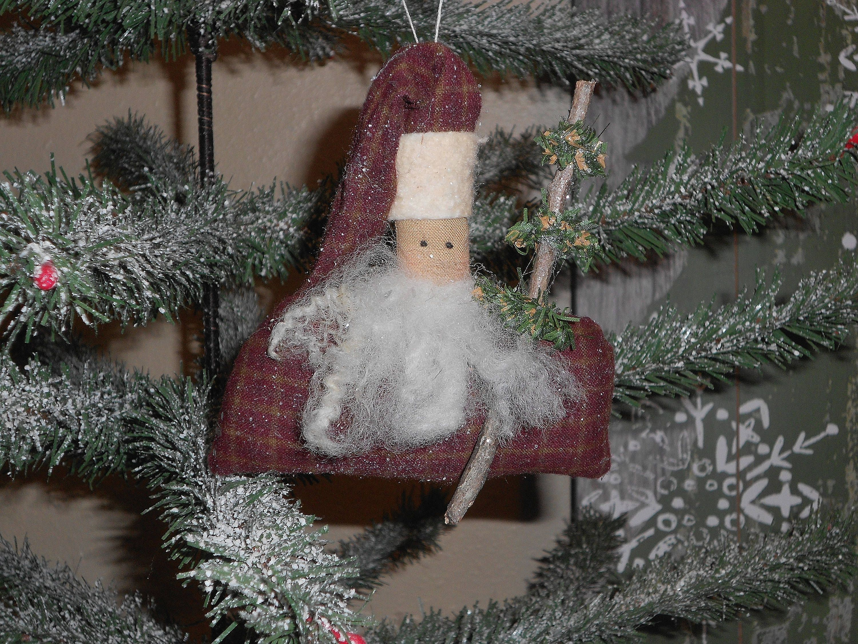 primitive santa primitive santa ornament christmas tree ornament santa bowl filler - Christmas Tree Filler Decorations