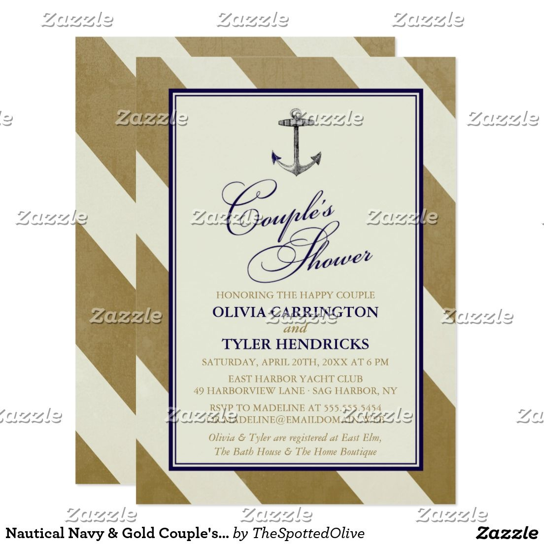 Nautical Navy Gold Couple S Shower Card Navy Gold Couples