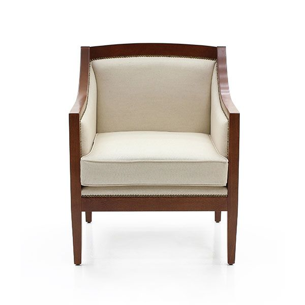 Cesare Armchair Art Deco Style With Simple Beech Wood Structure Enriched Crisscross Detail On The Sides Fully Upholstered In Natural Satin