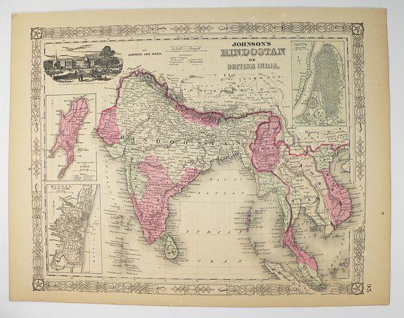 1864 Johnson India Map Hindostan Map British India Siam Map