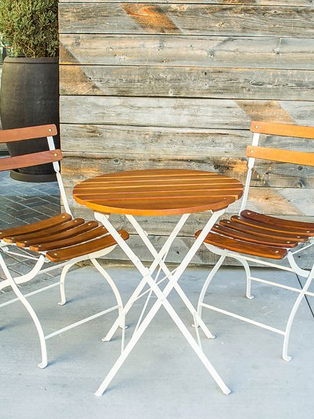 Cute Little Cafe Style Outdoor Seating Would Be Perfect For A Party Of Two Bistro Table Outdoor Bistro Set Outdoor Bistro Set