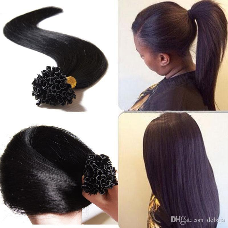 U Tip Pre Bonded Human Hair Extensions 1 Black Fusion Hair Sets 7a