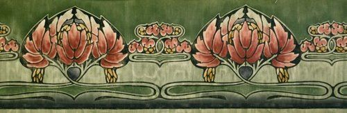 Art Nouveau Green Wallpaper Border Ebay Green Wallpaper Art