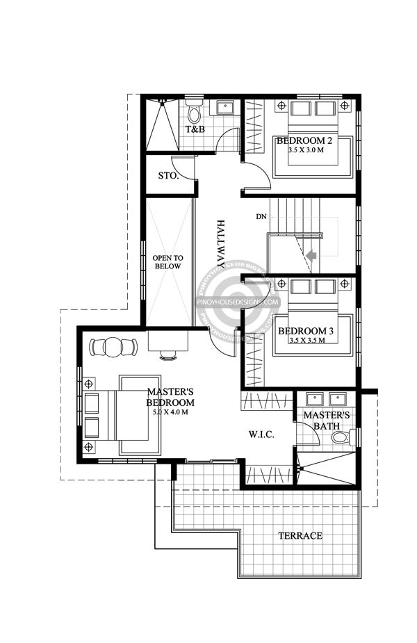 Open To Below Design Features Are Always A Favorite In Any Residential Design Matthew S Four Bedroom La Modern House Plans House Layout Plans Home Design Plan