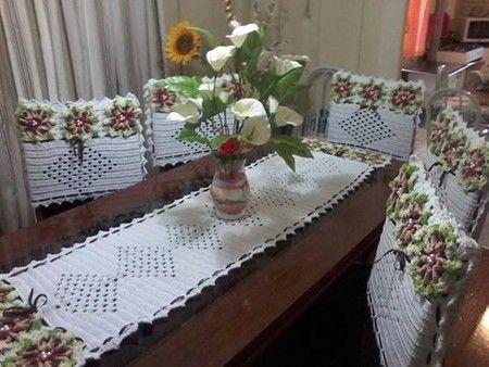 Capa para cadeira com flores em crochê   vivi castro crochê ...