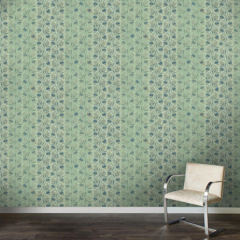 St. Frank | Aqua Pomegranate Suzani Wallpaper