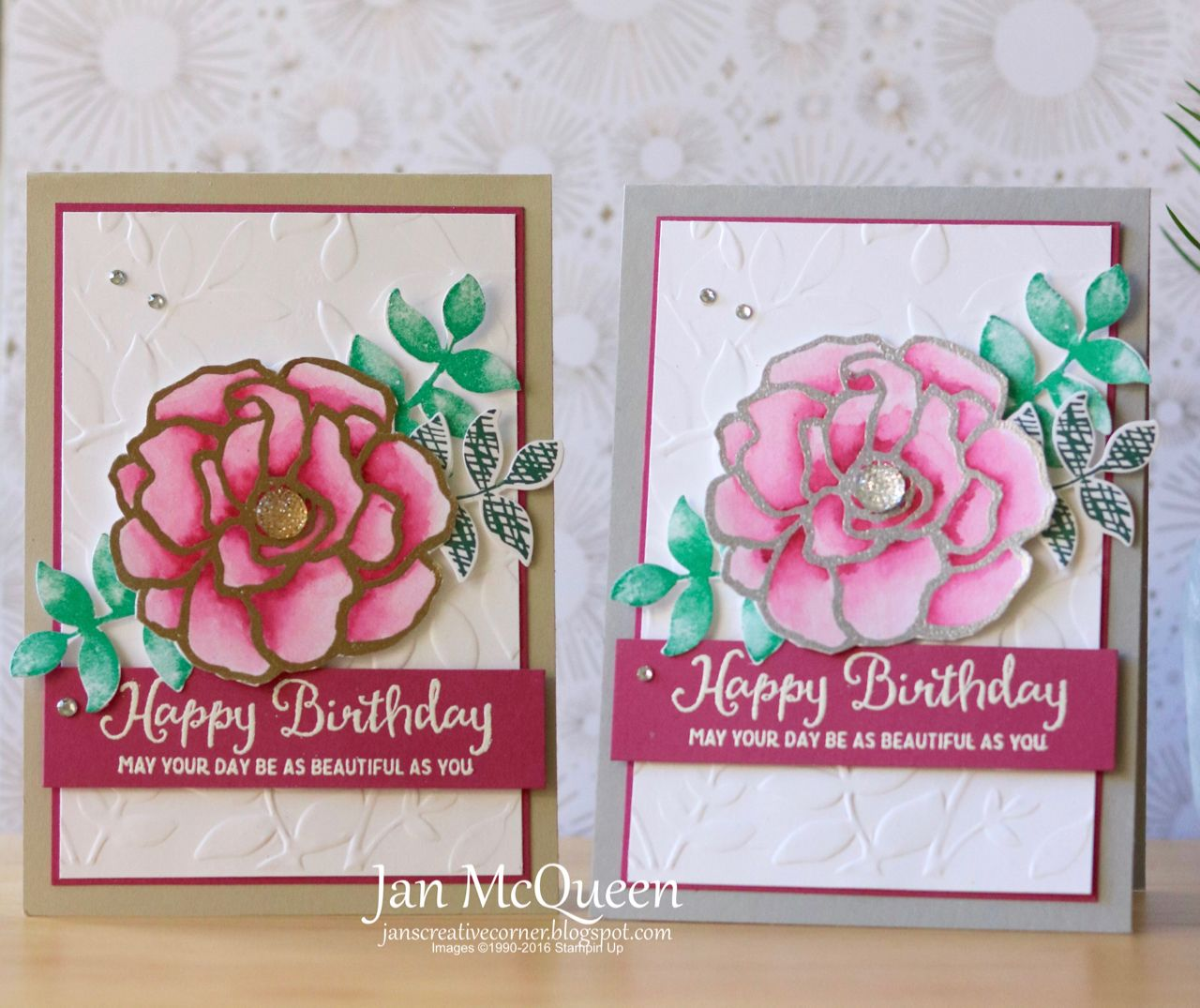 Birthday Cards Featuring Stampin Up S Beautiful Day By Jan Mcqueen