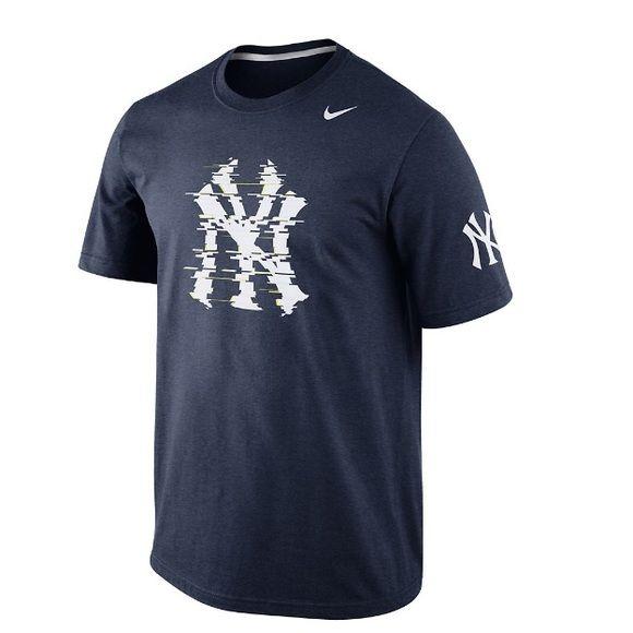 Men's Nike NY Yankees Ballistic Tri-Blend Tee Navy heather Crewneck Short  sleeves with white
