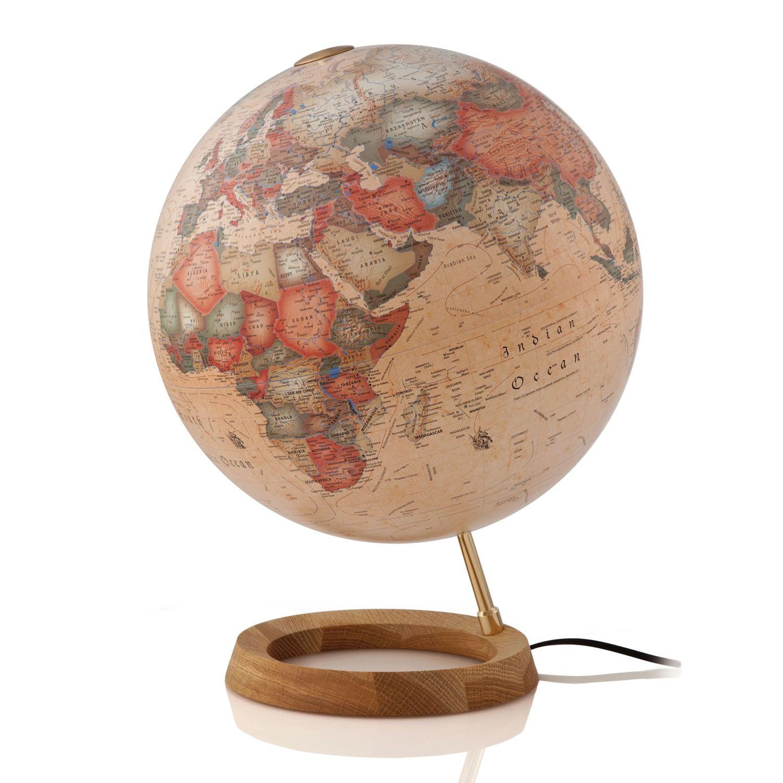 Mappamondo con lampada con base in legno di rovere e alluminio con ...