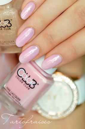 Nail art rose pastel pailleté - Marque des vernis : Color Club ...