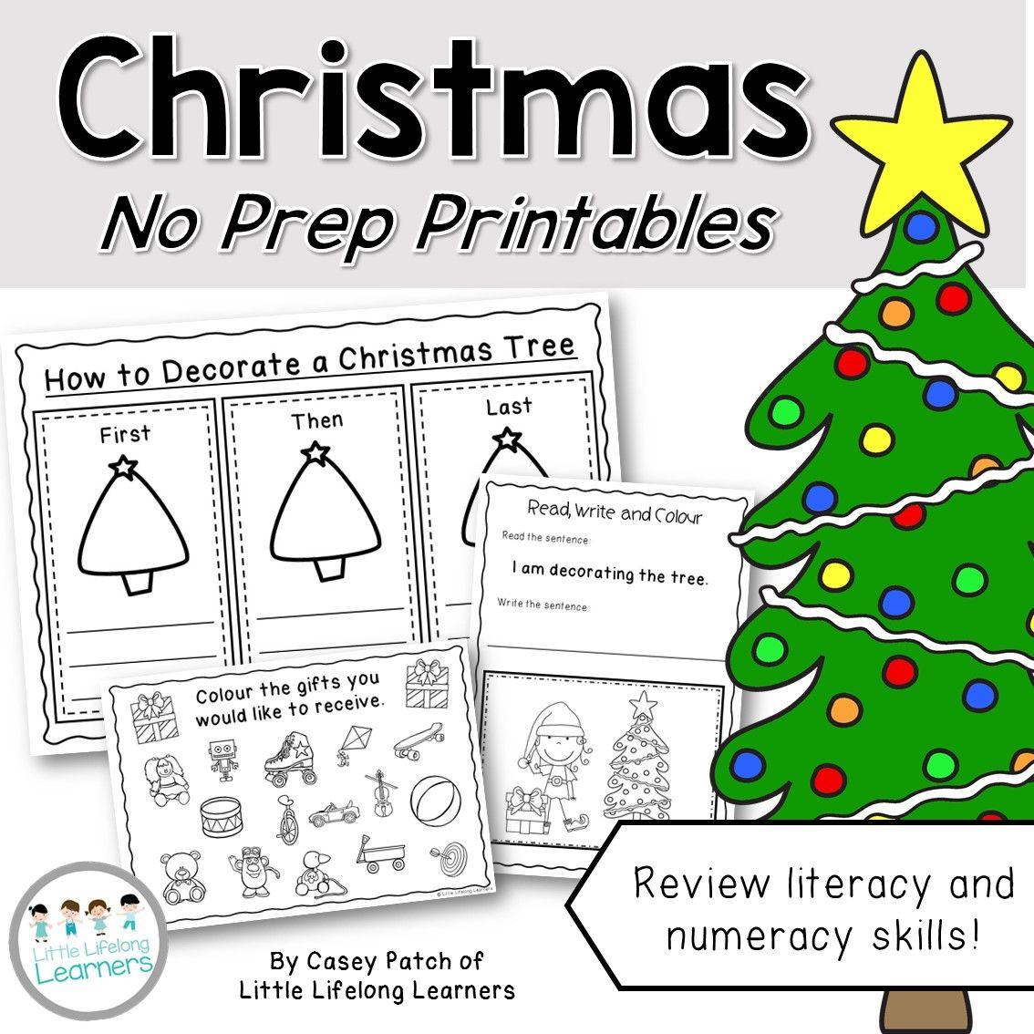 Christmas No Prep Printables End Of The Year Black Line Masters Kindergarten An Preschool Worksheets Christmas Literacy Kindergarten Christmas Worksheets [ 1134 x 1134 Pixel ]