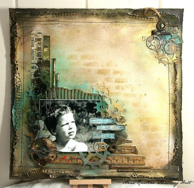 Steampunk scrapbook LO - made by Anne