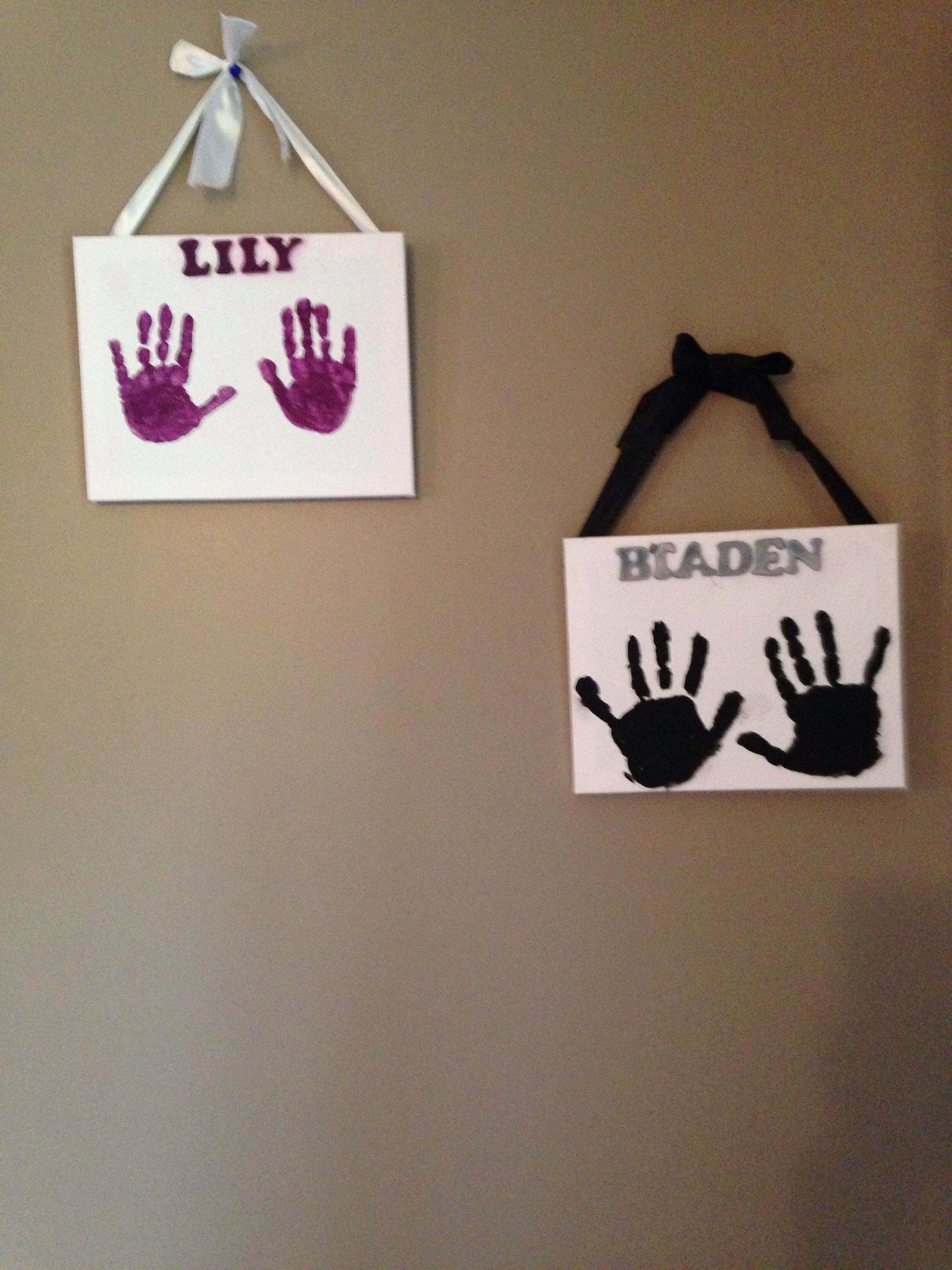 Hand Prints on Canvas Great rainy day craft with the kids and a