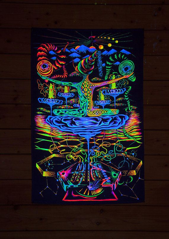 Psy Backdrop Antimaterial Uv Blacklight Tapestry Glow